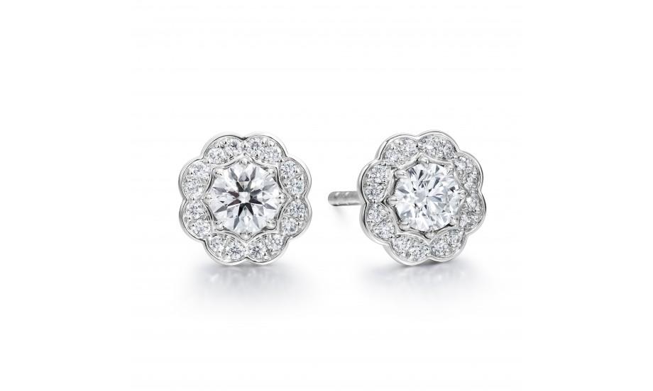 18K白色黃金美鑽耳環